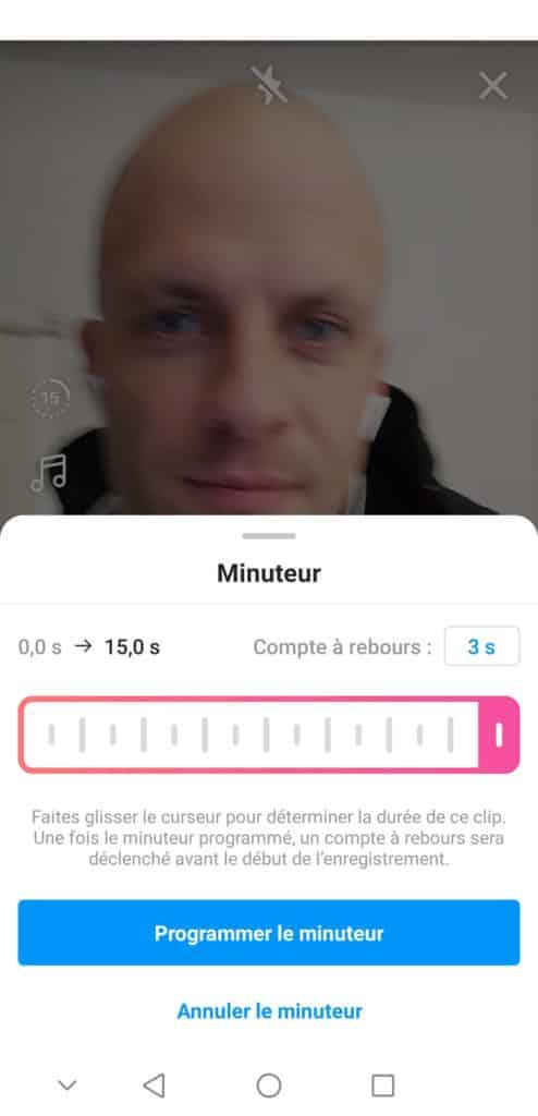 minuteur Réels Instagram